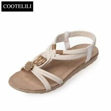 Cootelili Plus Size Summer Sweet Casual Flats Slip On Woman Shoes Bohemian Beade