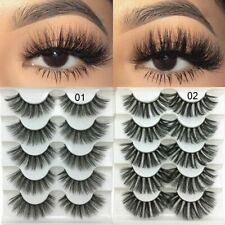 5 Pairs 2 Styles 3D Faux Mink Hair Soft False Eyelashes Fluffy Wispy Thick