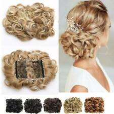Women Comb Clip In Elastic Net Curly Bun Chignon Updo Cover Hair Extension