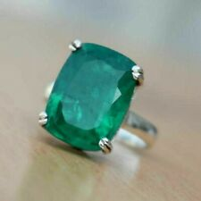 925 Sterling Silver Natural Colombian Emerald Prong Ring Birthstone Cushion Sale