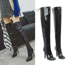 Runway Women's Stilettos Heel Pointy Toe Over Knee Thigh High Boots Zip Shoes US