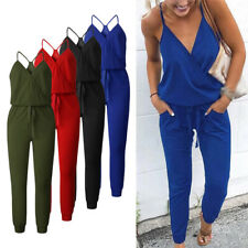 Womens Solid Color Deep V-neck Casual Jumpsuit Sleeveless Loose Romper Summer