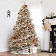 7.5ft Artificial Tinsel Christmas Tree Holiday Decoration Champagne Gold