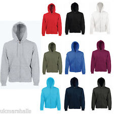 FRUIT OF THE LOOM FULL ZIP HOODED TOP HOODIE SIZE S-XXL