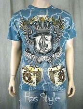 Christian Audigier BLUE Two Rings Turntables T SHIRT