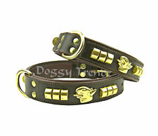 BROWN LEATHER DOG COLLAR BRASS ENGLISH BULL TERRIER