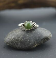 Nephrite Jade Bali Silver Wire Wrap Ring - ANY SIZE