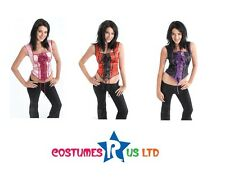 FANCY DRESS LADIES HALLOWEEN CORSETS MIXED COLOURS ONE SIZE VAMPIRE OUTFIT