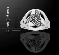 """Gemstone Celtic Triquetra """"Charmed Symbol"""" Silver Ring"""