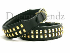 """BIG DOGS LEATHER DOG COLLAR 2"""" WIDE STRONG BRASS STUDS"""