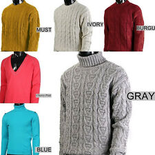 NEW MEN CABLE KNIT WOOL VARIOUS SWEATER FISHERMAN 123CZ