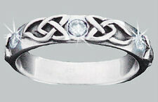 Sterling Silver Celtic Wedding Band w/ Clear CZs 3065