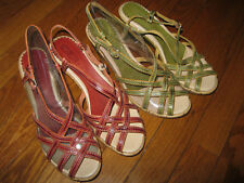 NIB Pikolinos Womans Sri Lanka Platform Sandal Shoes 7, 37.5 Green or Red U Pick