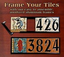 House Number Address Ceramic Tile ANODIZED ALUMINUM FRAME