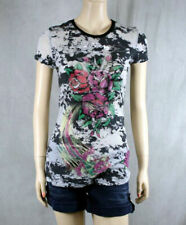 ED Hardy women's three old school dragon roses Burn out T-shirt