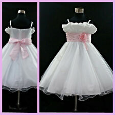 Pink White Wedding Party Prom Flower Girl Tulle Dresses SIZE Age 1 to 12 Years