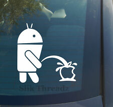 Android Pissing On Apple Logo Vinyl Decal Sticker funny cell phone