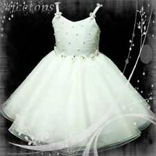 White Bridesmaid Pageant Party Flowers Girls Dress 2-8Y