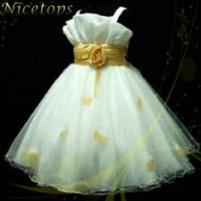 Gold White Marriage Wedding Party Bridesmaid Flowers Girls Dresses SIZE 2 to 100