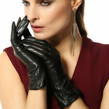 NEW WARMEN Women's GENUINE LAMBSKIN leather Gothic gloves Christmas gift Black