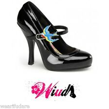 BLACK PATENT MARY-JANE PLATFORM BURLESQUE PINUP RETRO 50'S STYLE SHOES UK 2-8*