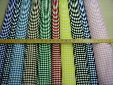 poly cotton GINGHAM FABRIC, free postage, 10 COLOURS,  1cm check