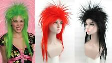 PUNK ROCKER POP SPIKY SPIKE EMO 80S 80'S ELVIRA COSTUME WIG BLACK GREEN RED