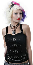 Dead Threads Ladies Black Cotton Top with Buckles and Chain Stud Lace detail