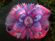 OONA BUBBLE GUPPIES PURPLE & PINK POLKA DOTS BOTTLECAP HAIRBOW