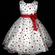Reds Polka Dot Christmas Party Flower Girls Pageant Dresses AGE SZ 3-4-5-6-7-8Y