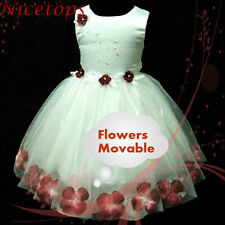 UK 1811T R476 RED Christmas Party Flowers Girls Pageant Dress AGE 9MT-1-2-3-4-5Y