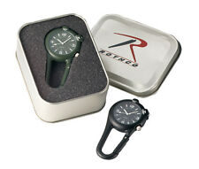 New Rothco Carabiner Clip Watch w/ Built-In Blue LED Light - Black or Olive Drab