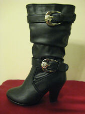 GIRLS BLACK BOOTS YOUTH SIZES 9-4