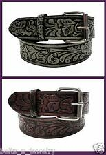"Western Men Belt 1-1/2"" Deasign Tooled Leather Leaf Embossed NC8845"