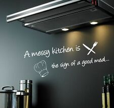 A MESSY KITCHEN WALL DECAL | Kitchen quote sticker | VINYL DECOR ART CHEF | WQ79