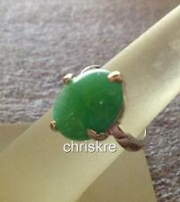 Silver Jade Cocktail Ring Size 6 7 8 9 Oval Cut Green Natural Stone USA Seller