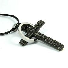 316L STAINLESS STEEL Bible Cross PENDANT ~BONUS Leather Cord or Chain NECKLACE~