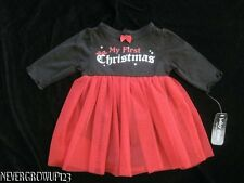 BABY GLAM~BLACK/RED MY FIRST CHRISTMAS INFANT GIRLS DRESS~NB~3M~6M~9M~NWT