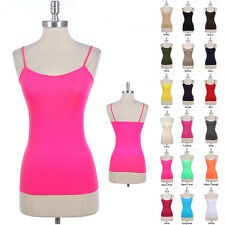 Seamless Spaghetti Strap Solid Tank Top Layering Cami Camisole Spandex ONE SIZE