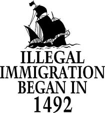 1492 Illegal Immigration Columbus Day T-Shirt Political Funny Humor Truth USA