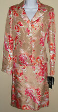 NWT Genuine LE STUDIO beige coral flower jacket and skirt 2pc suit set, size 4,6