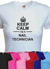keep calm i'm a nail technician tshirt womens funny beautician beauty t-shirt