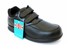 Mens Walking Casual Comfortable Black Leather Shoes *BRITISH WALKERS*