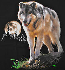 Lone Wolf T-Shirt Black Big Animal Print Full Moon BABA