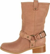 new  JESSICA SIMPSON INNA TAN MOTORCYCLE LEATHER RIDING HARNESS BOOTS