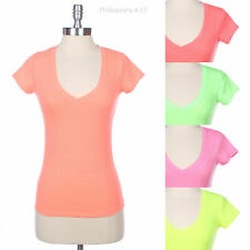 Basic Plain SOLID V-Neck Short Sleeve COTTON TOP T SHIRT 13 colors S M L