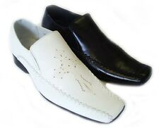 NEW MENS LEATHER DRESS SHOES LOAFERS SLIP ON COMFORT FREE SHOE HORN / 2 Colors
