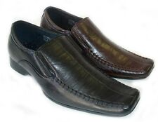 NEW MENS LEATHER DRESS/CASUAL  LOAFERS SLIP ON SHOES FREE SHOE HORN / 2 COLORS