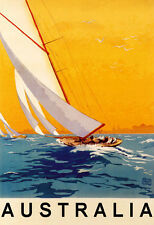 Sailboat Boat Sport Australia Ocean Tourism Travel Vintage Poster Repo FREE S/H