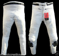 White Motorbike Motorcyle 100% Genuine Real Leather Trousers Jeans - CE Armoured